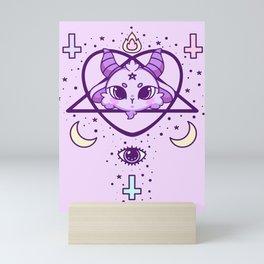 kawaii baphomet pattern lilac Mini Art Print