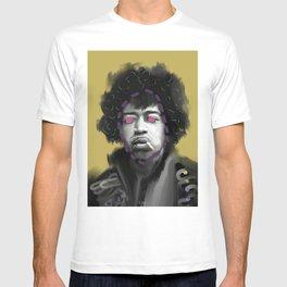 Guitarist Jimi, POP art style, digitally painted T-shirt