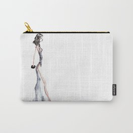 Lady - Watercolors and Ink Carry-All Pouch