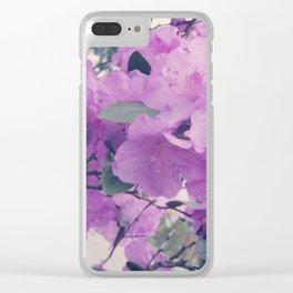 Pink Azalea Flowers Clear iPhone Case