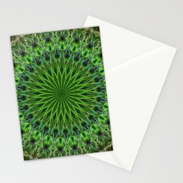 Ornamented green mandala Stationery Cards