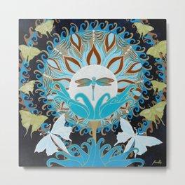 Journey of the Luna Moth Art Nouveau Mandala by Jeanne Fry Metal Print