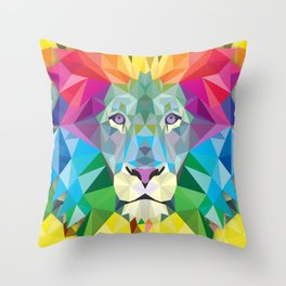 Geometric Rainbow Lion Throw Pillow