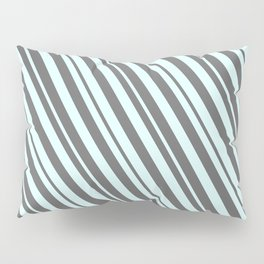 Light Cyan and Dim Grey Colored Lines/Stripes Pattern Pillow Sham