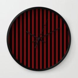 Mattress Ticking Wide Striped Pattern Red on Black Wall Clock