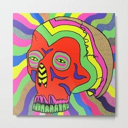 Hallucinogenic Skull Metal Print