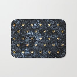 Gold Glitter Hearts on Blue-Black Scratched Suede Bath Mat