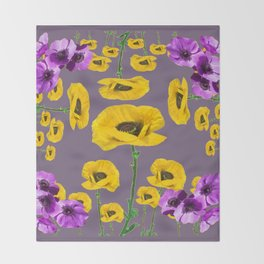 LILAC ANEMONES YELLOW POPPY FLOWERS ON GREY Throw Blanket
