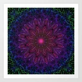 The Owl & The Dragon digital kaleidoscope art Art Print