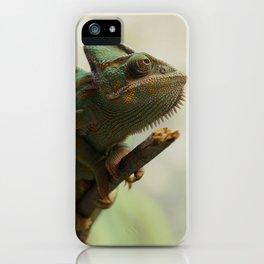 Green Chameleon on Branch iPhone Case