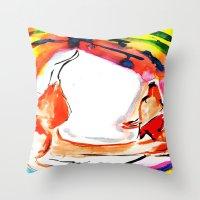 kitsune Throw Pillows featuring Kitsune by Karina Geddes Illustration