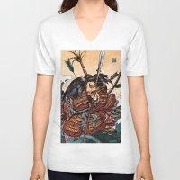 samurai V-neck T-shirts featuring Samurai by RICHMOND ART STUDIO