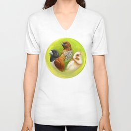 Munia finches realistic painting Unisex V-Neck