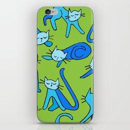 kitty kat (blue on green) iPhone Skin