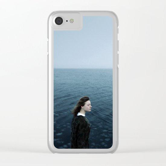 Girl ocean ice mountain Clear iPhone Case