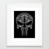 punisher Framed Art Prints featuring Tribal Punisher by Kush Wright