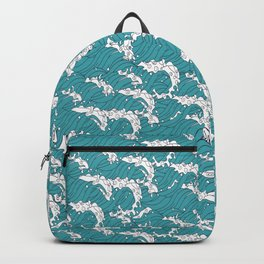 Japanese Wave Motif Seamless Patterns Symbols Backpack