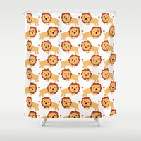 lions Shower Curtains featuring LIONS LEAPING by Kacieeeee