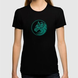 Teal Blue Growling Wolf Disc T-shirt