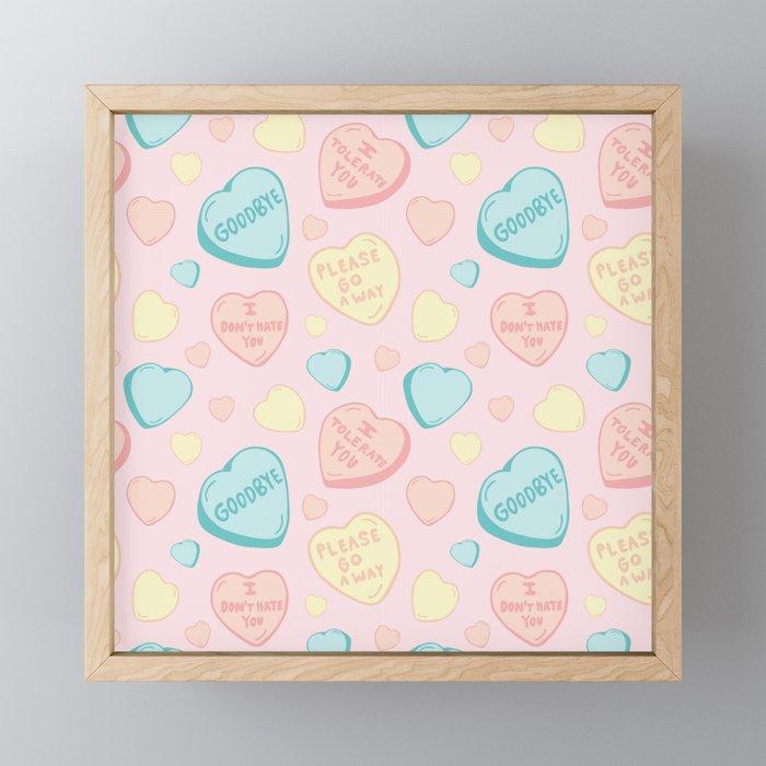 Introvert Conversation Hearts Framed Mini Art Print