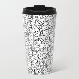 Elio's Shirt Faces in Black Outlines on White Travel Mug