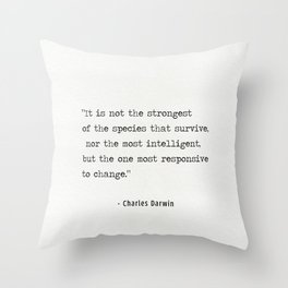 Charles Darwin quote Throw Pillow