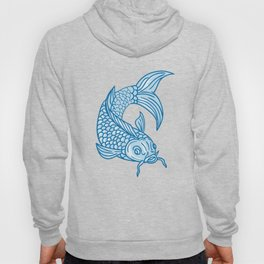Koi Nishikigoi Carp Fish Diving Down Drawing Hoody