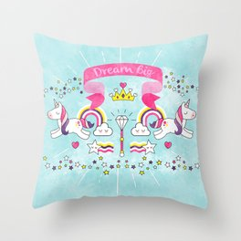 Dream Big Unicorn Carousel Throw Pillow
