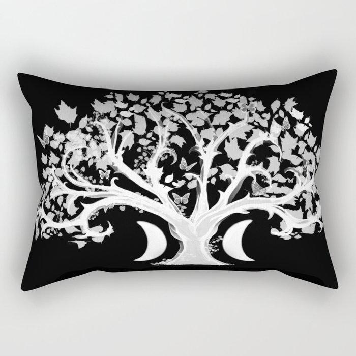The Zen Tree - White on Black Rectangular Pillow