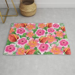 Tropical Flowers in Watercolor Rug
