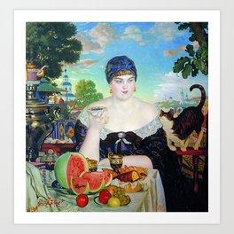 MERCHANT'S WIFE AT TEA - BORIS KUSTODIEV Art Print