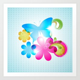 Butterfly Colorful Flowers Paisley And Butterflies Art Print