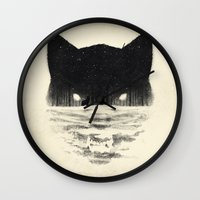 sale Wall Clocks featuring Wolfy by Dan Burgess