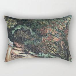 Lighted Path Through Green - Oil on canvas painting Rectangular Pillow