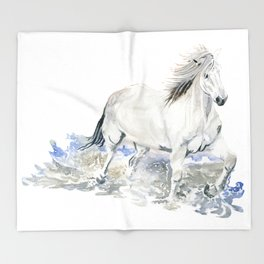 Wild White Horse Throw Blanket