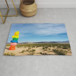 Seven Magic Mountains | Highway Landmark Blue Sky Desert Wilderness Rug