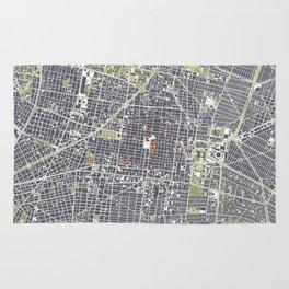 Mexico city map engraving Rug