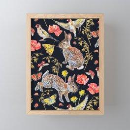 Bunny Meadow Pattern - Dark Framed Mini Art Print