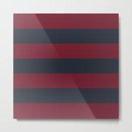 Burgundy Stripes Metal Print
