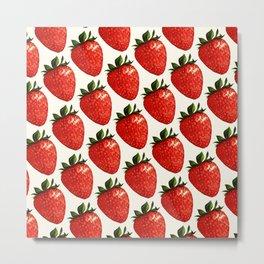Strawberry Pattern - White Metal Print