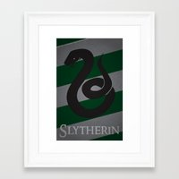 slytherin Framed Art Prints featuring Slytherin by Fanboy's Canvas
