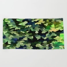 Foliage Abstract Pop Art In Green and Blue Beach Towel