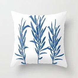 Eucalyptus Branches Blue Throw Pillow