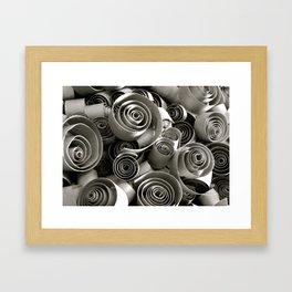 black and white paper swirls Framed Art Print