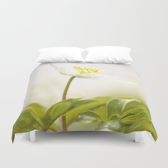 Wood Anemone Blooming in Forest Duvet Cover