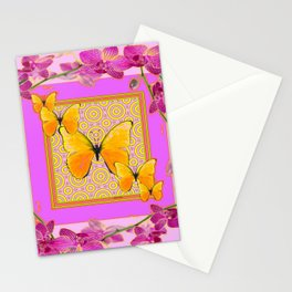 Golden Butterflies Purple-Pink Orchids Art Stationery Cards