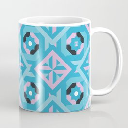 Nuts and Bolts Modern Spanish tile pattern // blue and pink Coffee Mug