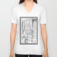 puppies V-neck T-shirts featuring Corgi puppies by Agy Wilson