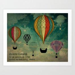 1er vuelo Aerostático en España Art Print