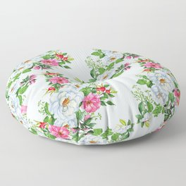 Classically Elegant Pink And Pastel Blue Floral Pattern Floor Pillow